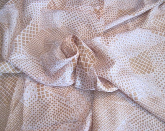 Vintage retro fabric material beige and white geometric patterns polyester polka dots squares circles diamond shapes sewing craft daisy