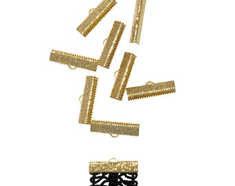 50pcs.  25mm  (1 inch)  Gold Ribbon Clamp End Crimps - Artisan Series
