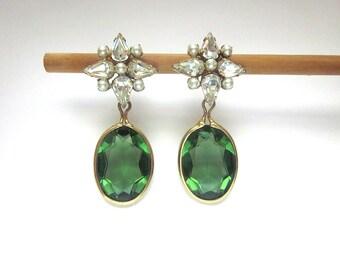 Vintage Rhinestone Pearl Clip On Earrings Emerald Green Glass Jewelry