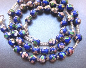 Cloisonne Beaded Necklace Cobalt Blue Enamel Floral Jewelry