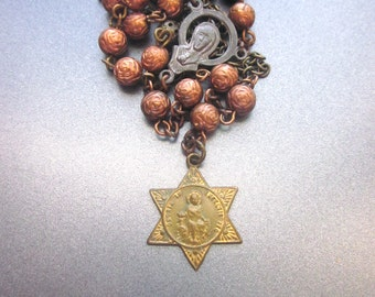 Assemblage Rosary Y Necklace Vintage Repurposed Jewelry Handmade One of a Kind