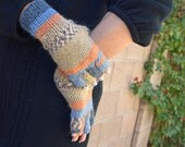 Knit fingerless gloves graduated colors gift for her