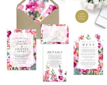 EMILY SUITE // Spring Watercolor Wedding Invitation, Botanical, Colorful, Garden Wedding, Watercolour, Outdoor Wedding, English Garden, Pink