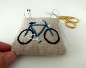 RESERVED pincushion with embroidered bike