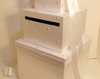 Wedding  Card Box LARGE Size 3 tier White  Gift Card Box Money Box Holder--Customize your color