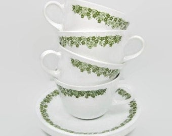 Corelle Spring Blossom Green Cups and Saucers set of 4  closed handle cup