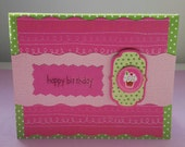 Happy Birthday Girl Cupcake Greeting Card