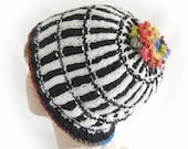Woman's Black and White Winter Hat Striped Black and White Winter Hat Colorful Women's Striped Winter Hat Black and White Knit Winter Hat