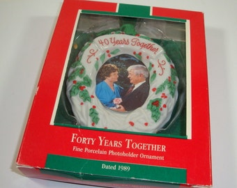 Vintage Hallmark Keepsake Christmas Ornament, Forty Years Together Photoholder, Porcelain, Boxed, Wreath, 40 Years, 1989 (960-15)