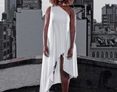 one shoulder asymmetrical hem mini dress