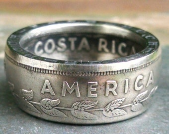 Costa Rica Coin Ring - 50 Cents Coin Ring 1968 - Size: 9