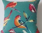 Lisette peacock bird - decorative pillow cover - teal throw pillow cover