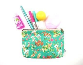 Small Zipper Pouch - Cottagely Posy - makeup case, make up bag, zipper pouch, project bag, cosmetic case, Bible Journal, pen case