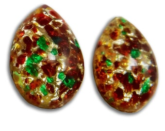 Orange Opal Cabochons 18x13 2 pcs Teardrop Vintage Fire Opal Glass Cabs S-396