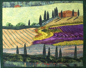 Tuscan Countryside II Original Art Quilt by Lenore Crawford