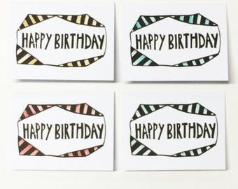 Happy Birthday Cards, hand painted cards, Birthday Cards, Block printed cards, set of 5 greeting cards,