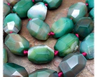 Crater Lake Green Agate Big Chunky Nuggets 8 PC