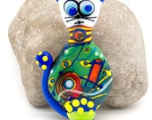 Soul Cat - Glass Art - Lampwork, Statement, Signature focal bead, *Picasso* Style, by Michou P. Anderson