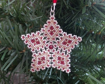 Star Christmas Ornament Tree Decoration in burgandy, silver and gold peyote stitch with custom hanger filigree open pattern