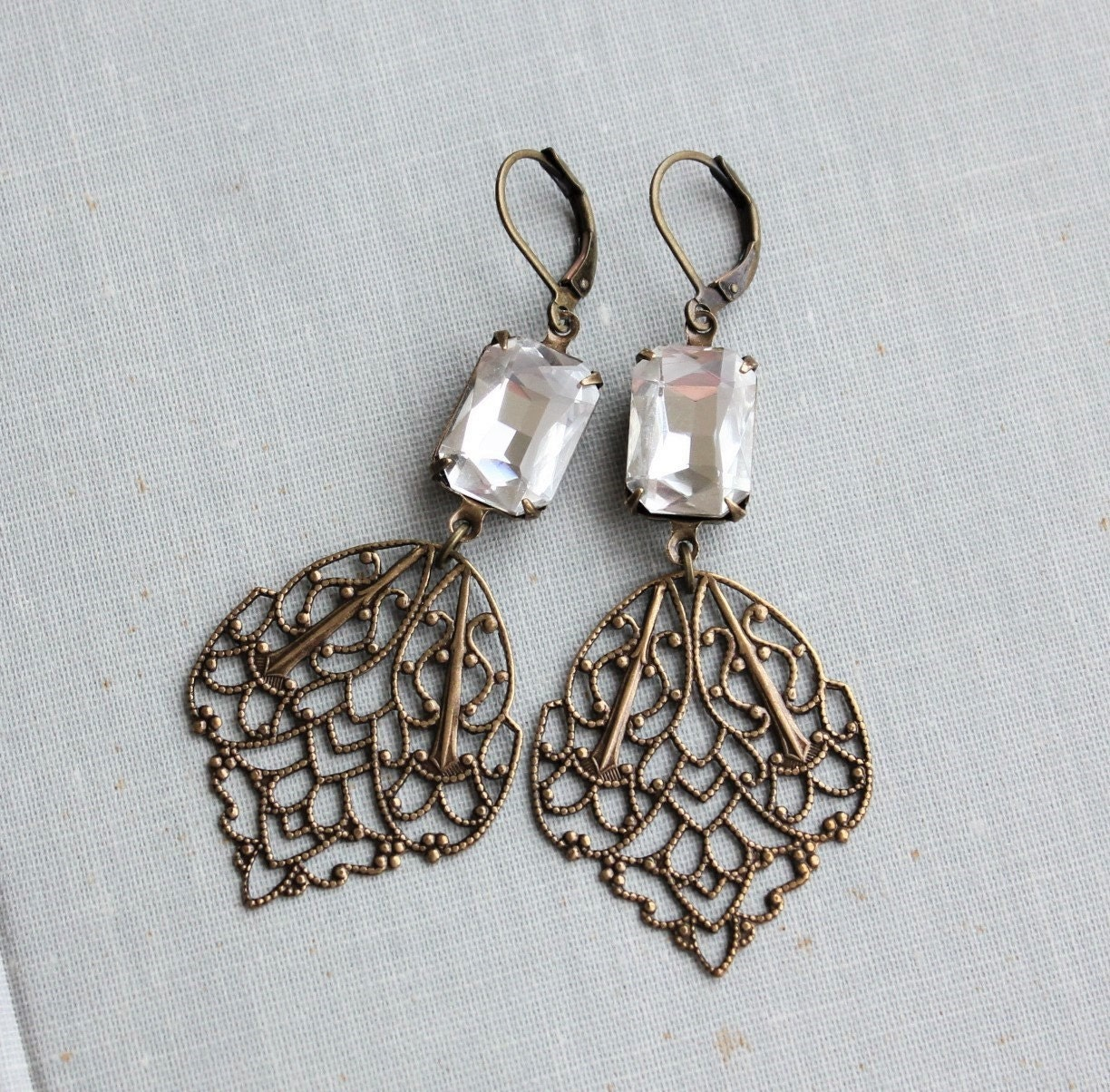 octagon filigree leaf earrings in antique brass