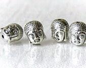 Antiqued Silver Buddha Head Metal Beads 11mm 4 Pcs