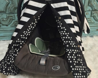Car seat canopy Big Stripes and Stars  / carseat cover / car seat cover / car seat canopy / nursing cover