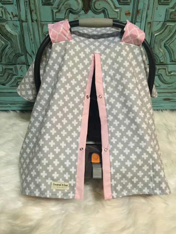 Car seat canopy Flannel Pink and GreyPrint / car seat cover / nursing cover / carseat canopy / carseat cover