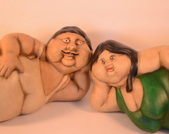 Small Handmade Mexican Ceramic Botero Couple in Green *w/ FREE Shipping!*