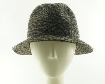 Womens TRILBY HAT - Fedora Hat for Women - Animal Print -Stingy Brim Fedora - Vintage Style - Beaver Hat - Trilbies