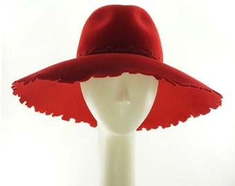 Big Red Hat, Floppy Hat, Wide Brim Hat, Fedora Hat, Felt Hat, Kentucky Derby Hat, Handmade Hat for Women, Ladies Hat, Red Hat, Felt Hat