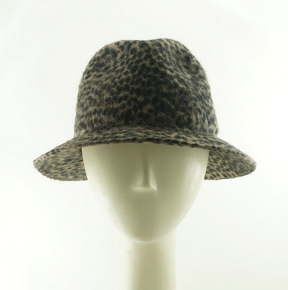 Womens FEDORA HAT - Fedora Hat for Women - Animal Print Hat - Stingy Brim Fedora - Vintage Style Hat - Beaver Hat - Fedoras for Women