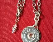 repurposed upcycled shotgun shell jewelry swarovski crystal rodeo queen pendant