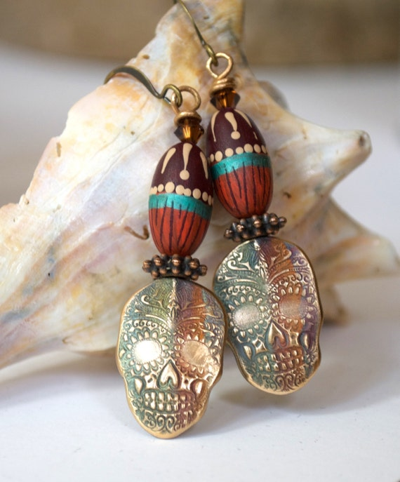 Sugar Skull Earrings, Brass  Earrings, Polymer Clay Earrings,  Dia De Los Muertos, Fire Painted Metal Earrings, Jewelry, Gothic Boho Jewelry