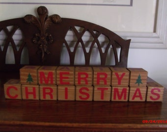 Vintage 4 Way Building Block Holiday Sign Christmas Easte Valentine Day Welcome