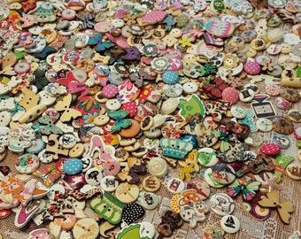 Massive Wholesale Assortment of Buttons (100) - Buttons Lot, Wooden Buttons, Assorted Buttons