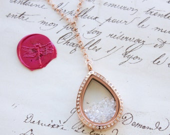 Keepsake Floating Memory Shake Locket w/Crystals Y Necklace and CZs Stainless Steel, Yellow, or Rose Gold Plated Round, Teardrop, or Octagon
