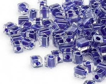 4mm clear color lined cobalt blue square beads, Miyuki # SB239, 20 grams, approx 208 beads. School color, purple blue, Mardi Gras, tropical