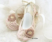 Wedding Ballet Flats, Rose, Pink, Blush, Ivory, Shoes, Pink Flats, Lace Flats, Flower Girl Flats, Ballet Slippers, Elegant, Vintage Wedding
