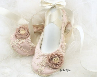Wedding Ballet Flats, Rose, Pink, Blush, Ivory, Shoes, Pink Flats, Lace Flats, Flower Girl Flats, Ballet Slippers, Elegant, Vintage Wedding