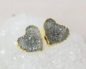 40 OFF SALE Charcoal Grey Druzy Heart Studs - 14K Gold Filled - Choose Your Druzy