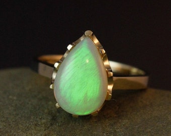 25% OFF Neon Green Opal Ring- Teardrop Opal Ring - 10K Solid Gold - Luxury Collection