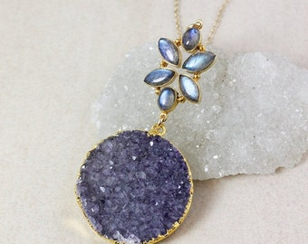 50% OFF Blue Labradorite and Grey Druzy Necklace – Choose Your Pendant – 14K Gold Filled Chain