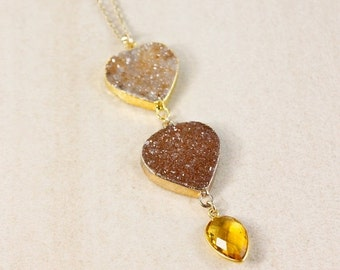 50% OFF Gold Agate Druzy Necklace - Citrine Quartz - Layering Necklace