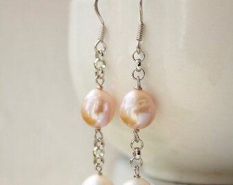 CLEARANCE SALE White and Pink Freshwater Pearl Earrings - Wire Wrapped - Bridal Earrings, Summer weddings - MARKED Down