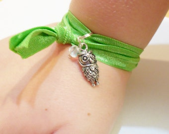 RIBBON Wrap Charm Bracelet Owl Bird Nature Silver Plated Jewelry