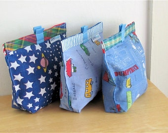 Too Cute Upcycled Snack Bag - Reusable Eco Friendly Fabric Baggie / Pouch - Sandwich / Lunch / Treat Bag - Baby / Toddler - Boy School Gift