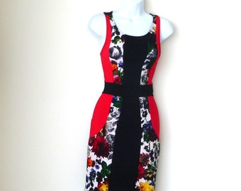 Sleeveless Dress - Body Hugging - Stretch - Black - Red - Floral - Color Block - Retro - 1990s - Size Small - USA - Recycled Eco Friendly