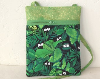 Cross body Mini messenger and cell phone bag- novelty jungle  and frog zip bag with coordinating zipper KBD10110