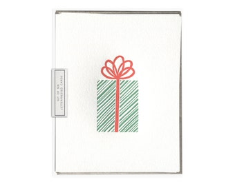 Christmas Gift letterpress card - set of six
