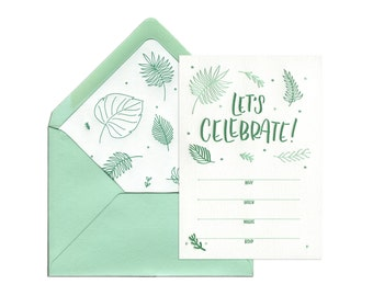 Tropical Garden Party Letterpress Fill-in Invitation - Let's Celebrate